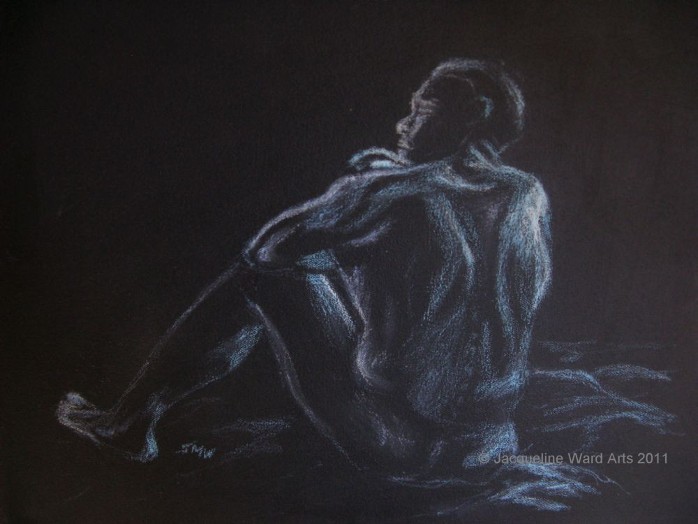 Untitled Male Nude 17x11 Oil Pastel